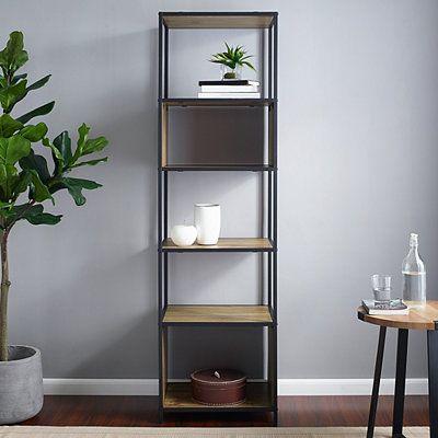 Industrial 5 Tier Metal Oak Wood Bookshelf Wood Bookshelves