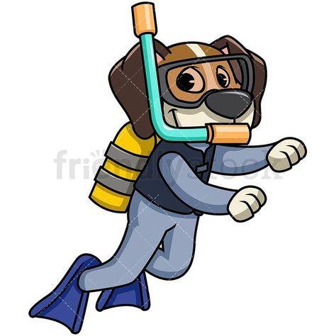 Beagle Dog Scuba Diving Royalty Free Stock Vector Illustration Of A Cute Beagle Dog Cartoon Character Wearing A Wetsui Diver Art Scuba Diving Gear Diving Gear