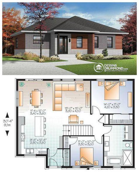 Magnifique bungalow urbain très économique (approx. 146,000$) offrant 2 chambres, une belle cuisine fonctionnelle ouvert sur une salle de séjour bien fenêtrée !  Découvrez plus d'information et les plans similaires en cliquant ici : http://www.dessinsdrummond.com/detail-plan-de-maison/info/1003121.html