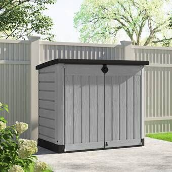 Resin Outdoor 2 Container 5 Ft 10 In W X 3 Ft 8 In D Plastic Horizontal Garbage Storage Shed In 2021 Garbage Shed Wooden Storage Sheds Shed
