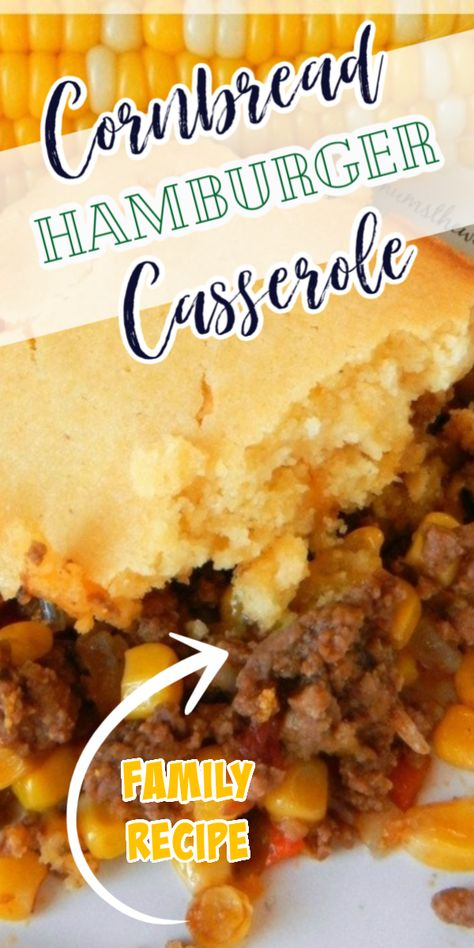This Easy Cornbread Hamburger Casserole has turned into a favorite meal with my kids. Flavorful ground beef topped with corn bread makes an easy Tex Mex Casserole even the kids will love! Hamburger Meat Recipes Ground, Easy Hamburger Casserole, Hamburger Dishes, Ground Beef Recipes For Dinner, Beef Casserole Recipes, Dinner Recipes Easy Quick, Easy Healthy Recipes, Quick Easy Meals, Mexican Cornbread Casserole