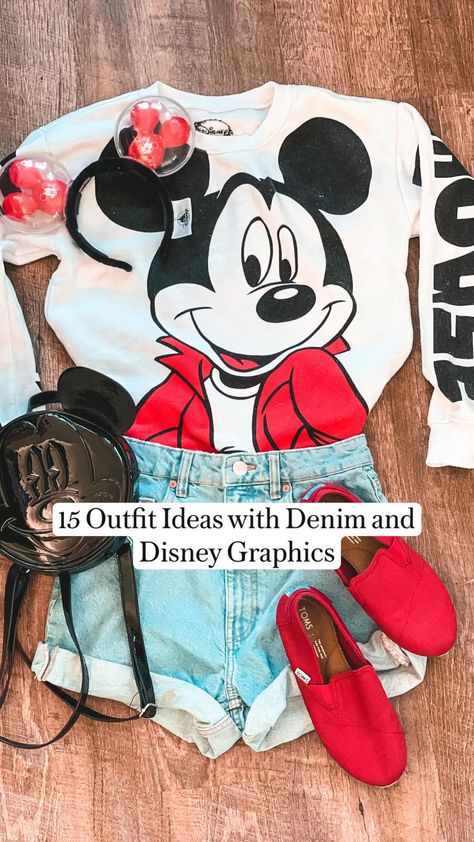 15 Outfit Ideas with Denim and Disney Graphics for your next Disneyland Trip!
