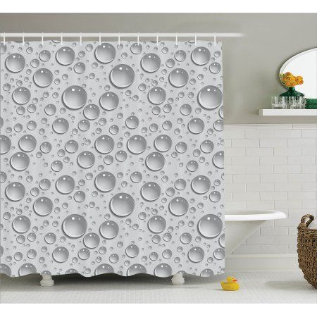 Gray Shower Curtain Set Small Large Bubbles Pattern Water Liquid