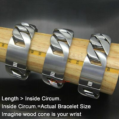 """Skull Heavy Wide Mens 316L Stainless Steel Cuban Curb Chain Biker Bracelet 8.7/"""""""