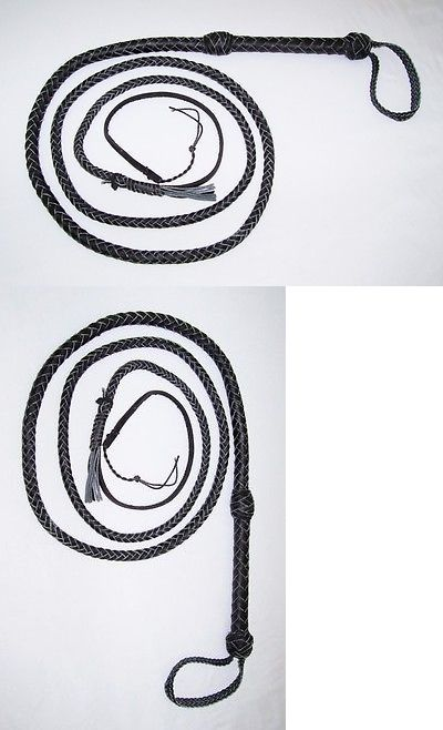 8 foot 8 Plait BLACK Real Leather Bullwhip Indiana Jones Leather Bull whips