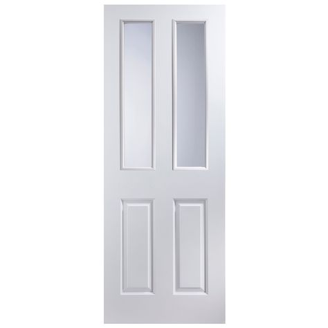 official photos 85bc3 8422b 4 Panel Primed Smooth Glazed Internal Standard Door, (H ...
