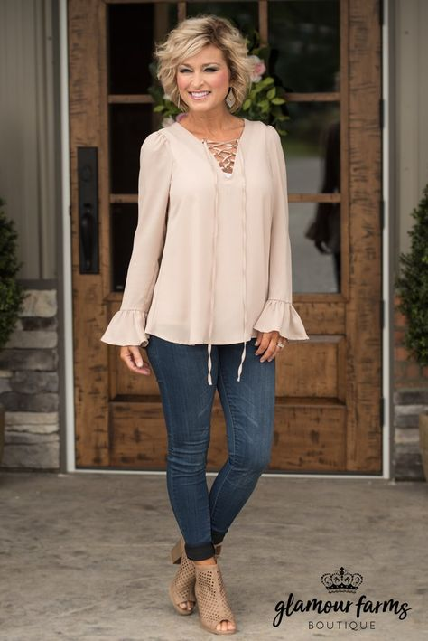 Georgia Bell Sleeve Top - Taupe Source by fashion over 50