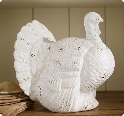 White Ceramic Turkeys Knockoffdecor Com Turkey Decorations Diy Turkey Decor Holiday Decor Christmas