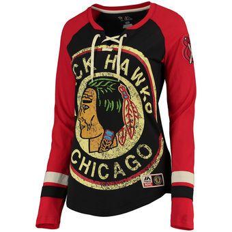 c8c9a3d9b Women s Chicago Blackhawks Majestic Black Vintage Hip Check Lacer Long  Sleeve T-Shirt