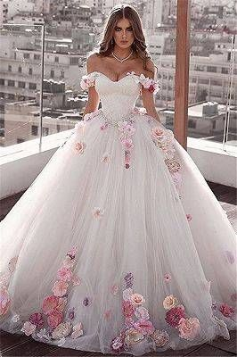Luxurious Off the Shoulder Beading Wedding Dress Crystal Tiered Chapel Train Bridal Gowns | www.babyonlinewholesale.com