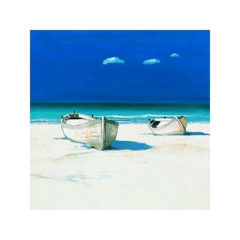 Two Boats On Tropical Beach Dig. Print Art 120x90cm