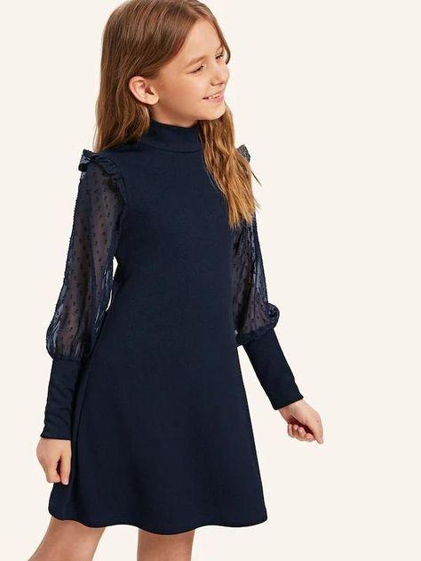 Girls High Neck Swiss Dot Mesh Sleeve Dress – gagokid