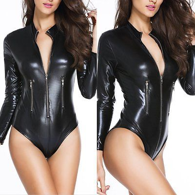 Damen Wetlook Monokini Body Trikot Tanga Kunstleder Catsuit Nachtclub Overall