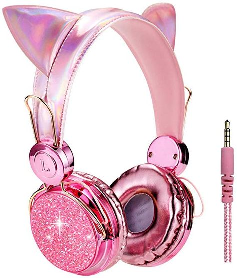 Kids Headphones Glitter Bear Ear Volume Limiting Adjustable Cute Anime Wired Headphones for Girls Boys School (Purple-Bear Ear) Cat Headphones, Girl With Headphones, Wireless Headphones, Kawaii Accessories, Girls Accessories, Girly Things, Cool Things To Buy, Stuff To Buy, Mode Lolita