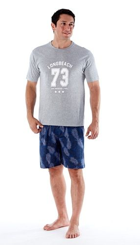 df7a5991c8 Mens LA Beach SS Grey Top Cotton Jersey Short Pyjama Set | Mens ...