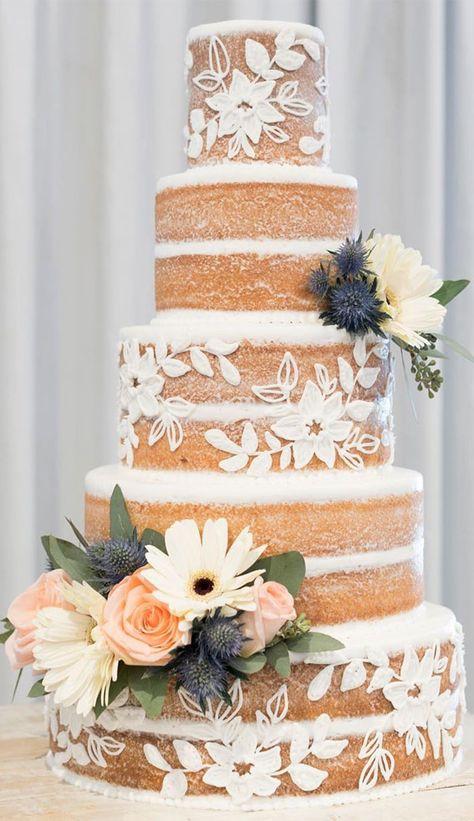 Wedding Cakes With Cupcakes, Elegant Wedding Cakes, Wedding Cake Designs, Cupcake Cakes, Rustic Wedding, Cake Tables For Weddings, Lace Wedding Cakes, Wedding Cake White, Spring Wedding Cakes