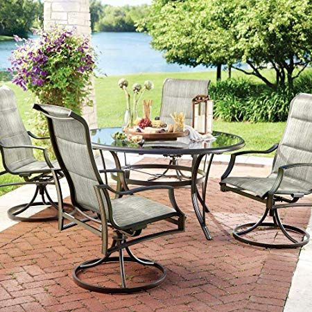 Statesville 5 Piece Padded Sling Patio Dining Set With 53 In Glass Top Teak Patio Furniture Patio Dining Set Outdoor Patio Table