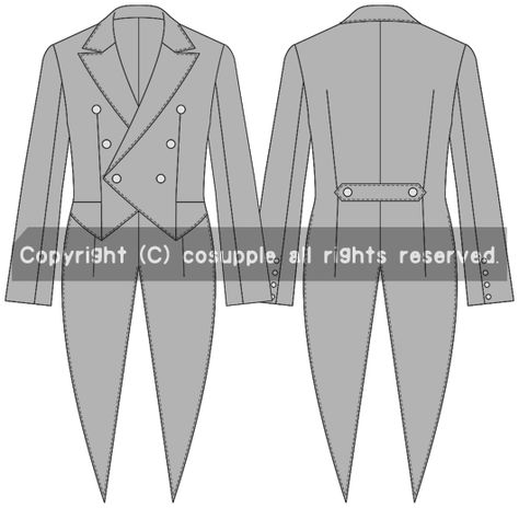 aea76981da0d7 黒執事調燕尾服ジャケット型紙 - 衣装型紙販売 コスサプリ
