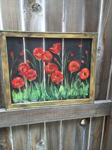 Red poppies gardenswindow screen hand painting by RebecaFlottArts