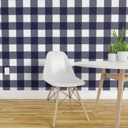 Removable Water Activated Wallpaper Navy Gingham Plaid Blue Buffalo Check Modern Walmart Com Wallpaper Panels Plaid Wallpaper Navy Wallpaper