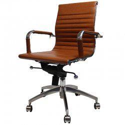 Bureaustoel Bruin Leer.Bureaustoel Design Tobacco Lage Rugleuning Design Stoelen En