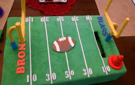 football field school valentine box paper mache goal posts soccer valentine box