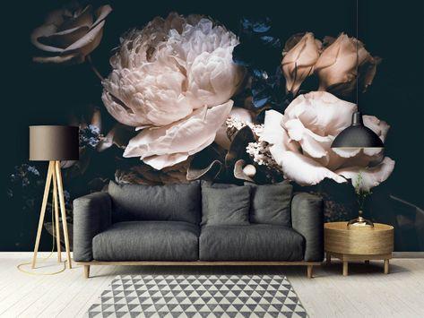 Wymienne Tapety Peel I Trzymac Kwiatowy Mural Piwonie Etsy Peony Wallpaper Removable Wallpaper Vintage Flowers Wallpaper