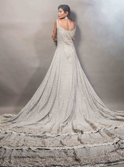 2a0a72ec326a Gray Pakistani bridal long tail maxi gown dress designs 2017