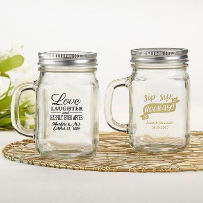 Personalized 12 Oz Mason Jar Wedding Favors Mason Jar Wedding Favors Wedding Favour Jars Mason Jar Mugs