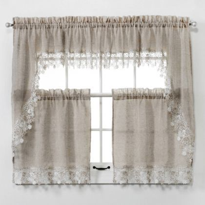 Lillian Faux Linen Tier Curtain With Macrame Trim Tier Curtains Curtains Window Swags