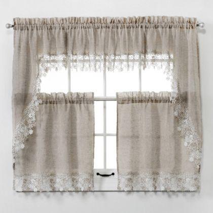 Lillian Faux Linen Tier Curtain With Macrame Trim Tier Curtains