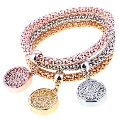3 PCS Set Girls Alloy Corn Diamond Heart Crown Pendant Bangle Elastic Bracelet