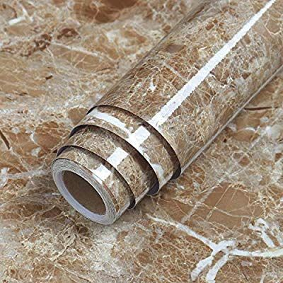 Lacheery 15 8x79in Brown Marble Contact Paper Faux Marble