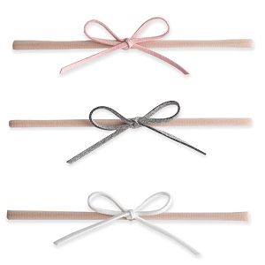 Suede Skinny Bows Pink Grey White Baby Bling Bows Suede Cord Headband Sets