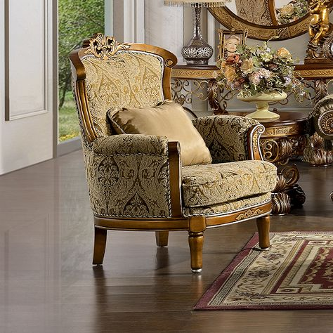 Elegant Bronze Gold Decorative Fabric Accent Club Chair With