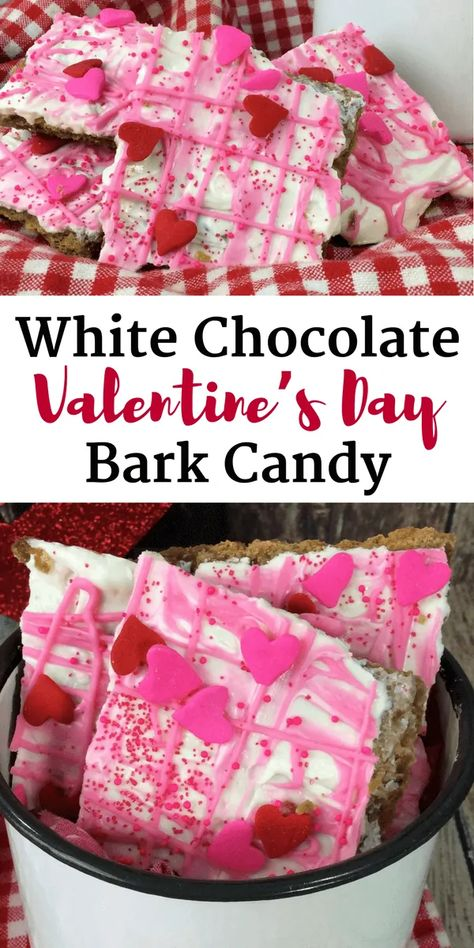 An easy white chocolate bark recipe for Valentine's Day.