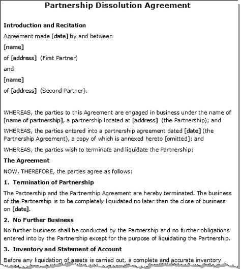 Partnership agreement letter - The party writing the letter should - business termination letter