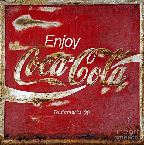 ... Rusty Sign Photograph - Coca Cola Vintage Rusty Sign Fine Art Print