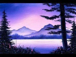 Purple Mountain Lake 5x7 Small Simple Oil Painting Exercise Oilpaintingeasy Simple Oil Painting Easy Landscape Paintings Landscape Paintings