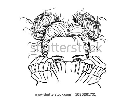 Nice Sketch Of Teenage Girl With Two Buns Hairstyle Hiding Her