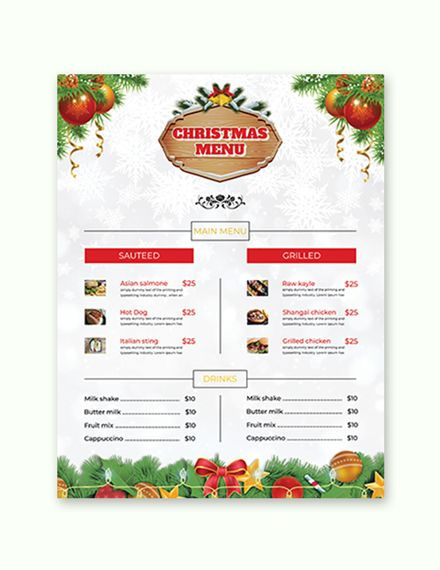 Free Christmas Brochure Menu Card Christmas Brochure Menu Card