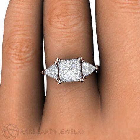 Moissanite Engagement Ring Moissanite Ring Princess 3 by RareEarth