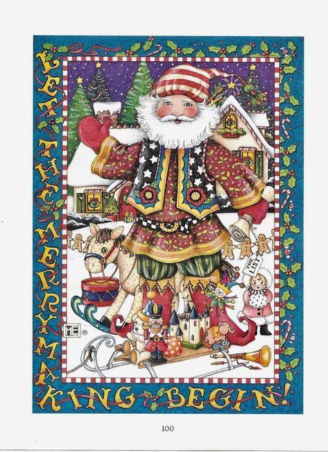 Mary Engelbreit print SANTA Let The Merry Making  Begin Christmas decor Christmas ephemera Christmas scrapbooking framable art craft