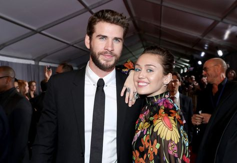 Actor Liam Hemsworth and Miley Cyrus attend the World Premiere of Marvel Studios' 'Thor: Ragnarok.'