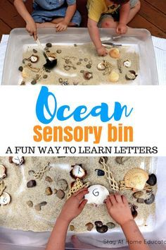 Use an ocean sensory bin as a name recognition activity this summer - This is a fun sensory activity that also teaches letters and name recognition. All you need are seashells and sand in your sensory table! Add this to your ocean preschool theme. Sensory Activities For Preschoolers, Childcare Activities, Sea Activities, Preschool Lessons, Summer Activities For Kids, Preschool Crafts, Toddler Activities, Beach Theme Preschool, Summer Preschool Themes