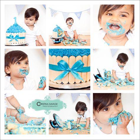 Cake smash for little boys first birthday