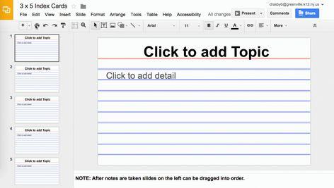 Using Google Slides To View Multiple Slides As One Sheet Inside Google Docs Index Card Template Cumed Org Recipe Cards Template Template Google Google Slides