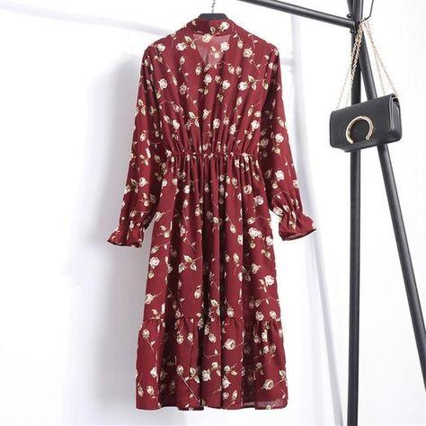 Women Casual Autumn Dress Lady Korean Style Vintage Floral Printed Chiffon Shirt Dress Long Sleeve Bow Midi Summer Dress Vestido - A-7 / L
