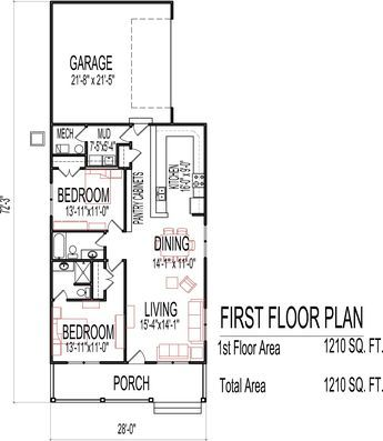 Small Low Cost Economical 2 Bedroom 2 Bath 1200 Sq Ft Single Story House Floor Plans Blueprint Drawin Cheap House Plans House Plans One Story Two Bedroom House