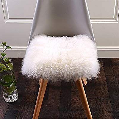 Amazon Com Softlife Square Faux Fur Sheepskin Chair Cover Seat Cushion Pad Super Soft Area Rugs For Living Be Sheepskin Chair Seat Cushions Sheepskin Cushions